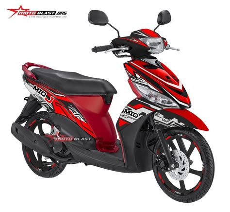 Modifikasi Mio J Merah by Modifikasi Striping Yamaha Mio J Hitech Motoblast
