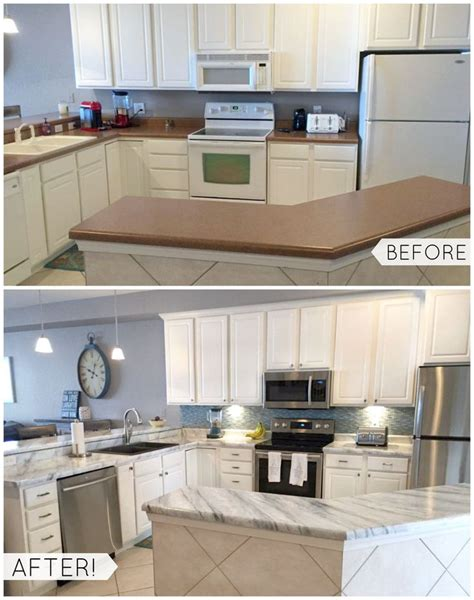 granite kitchen makeovers shh it s not marble it s paint easy affordable diy 1298