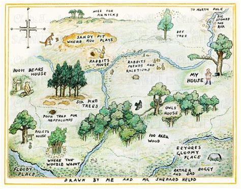 Colored Pencil Map Of The Hundred Acre Woods Winnie The