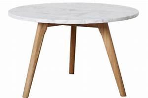 Table Ronde En Marbre : table basse ronde en marbre blanc et bois scandinave 50xh45 cm firdo table basse pas cher ~ Mglfilm.com Idées de Décoration