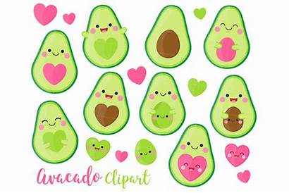 Avocado Kawaii Clipart Clip Svg Commercial Aguacate