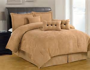 7 pc solid tan beige comforter set micro suede king size bed in bag new ebay
