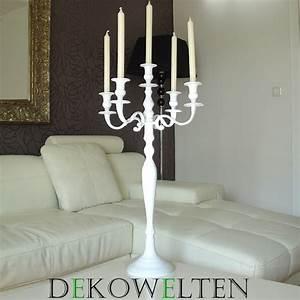 Kerzenständer Mit Glasaufsatz : kerzenleuchter kerzenst nder weiss mit 5x glasaufsatz 90cm f r wedding event ebay ~ Indierocktalk.com Haus und Dekorationen