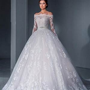 Vintage 2016 ball gown wedding dress sexy off the shoulder for Long sleeve ball gown wedding dress