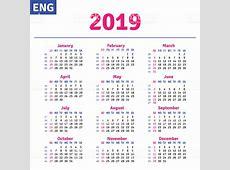 English Calendar 2019 Stock Vector Art & More Images of