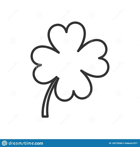 leaf clover outline flat icon  white stock vector