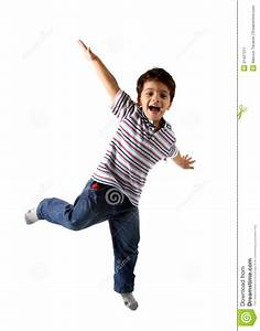 Caucasian Kid Jumping, Isolated On White Stock Image ...