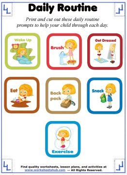 daily routine  kids printable schedule prompts