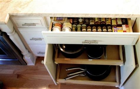 kitchen cabinets for storage spice drawer and pots pans organizer an idea i could do 6062