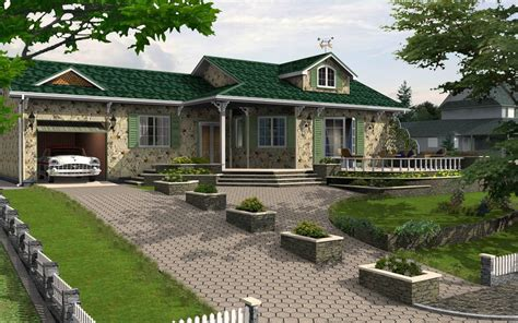 """""""cottage In An Urban Area""""  House 3d Model  Rendering"""
