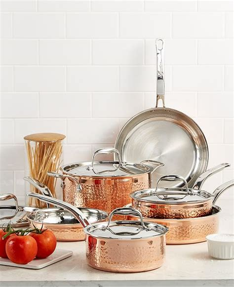 lagostina martellata tri ply copper  pc cookware set reviews cookware sets macys