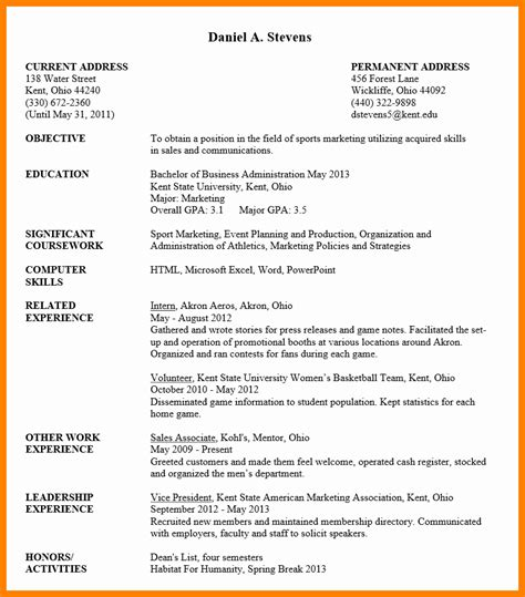 Student Cv by 10 Cv Format Sle For Students Theorynpractice