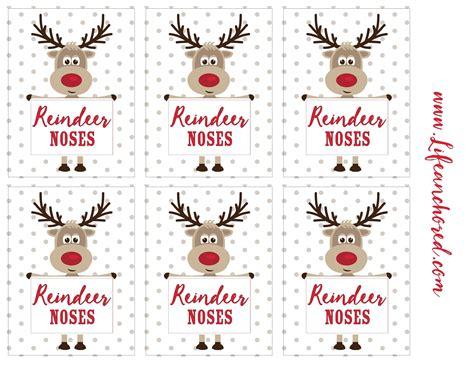 reindeer noses treat reindeer noses christmas labels