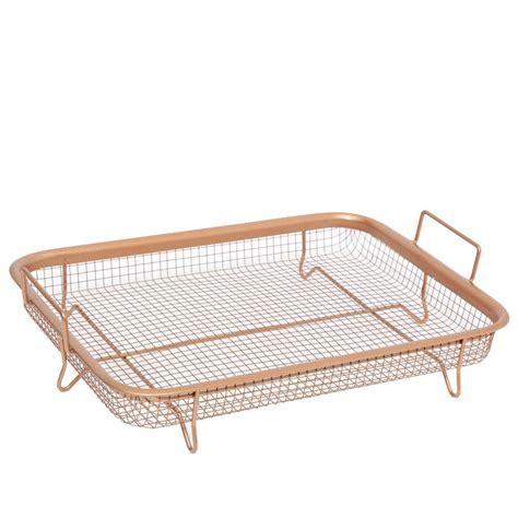 tray oven crisper copper non fryer air mesh grill pan multi stick purpose crisp description