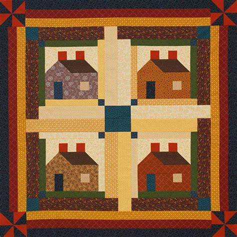 log cabin quilt pattern sew classic log cabin blocks to create a welcoming wall hanging this project uses harvest color