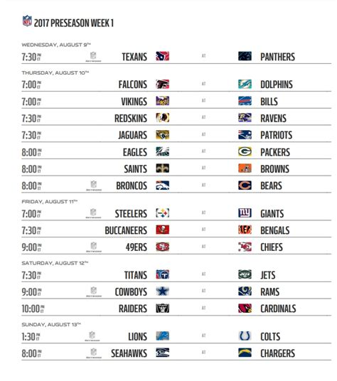 nfl preseason  schedule