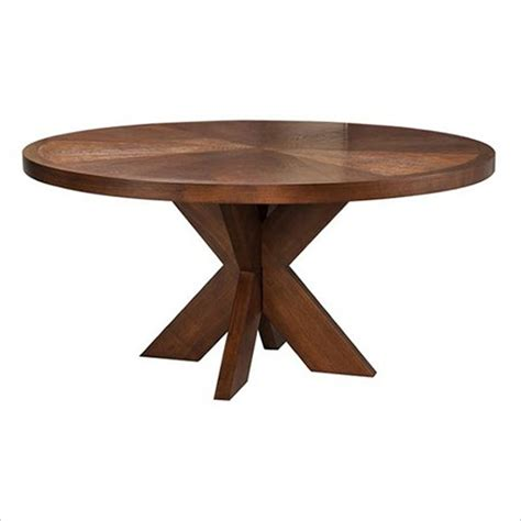x base dining table modus hudson round x base casual mocha finish dining table