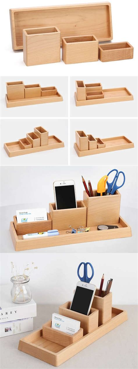 compartments wooden office desk organizer collection