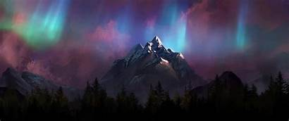 Ultrawide Wallpapers Neon Lights Northern Mountains Painting