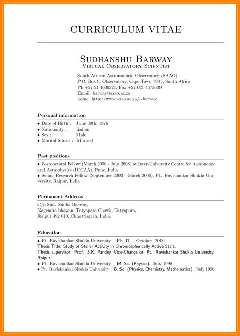 10 cv format 2017 south africa science resume