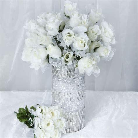 12 Bushes 84 Silk Organza Rose Buds Wedding Bouquet