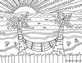 Beach Coloring Sunset Pages Getdrawings Sheets sketch template