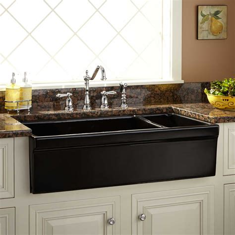 best farmhouse sink for the money 36 quot gallo reversible 80 20 offset double bowl fireclay