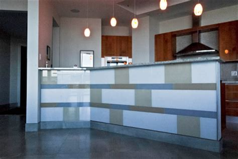 back painted glass tile as architectural elements
