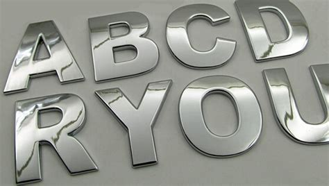 8pcs Car Styling Diy 3d Metal Sticker Auto Accessories Silver Alphabet Letter Decal Spell For