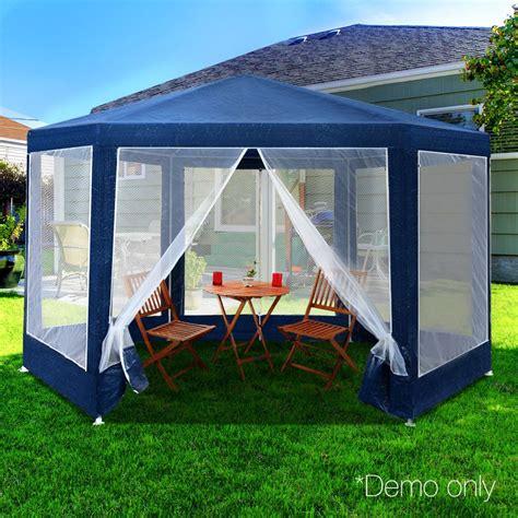 details  gazebo marquee mesh screen net walls market pop  hex camping tent steel frame