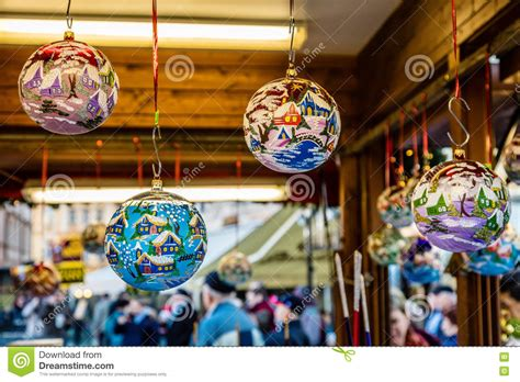 glass christmas balls prague czech republic stock photo