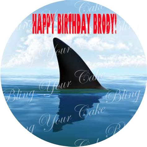 jaws fin inspired edible icing sheet cake decor topper