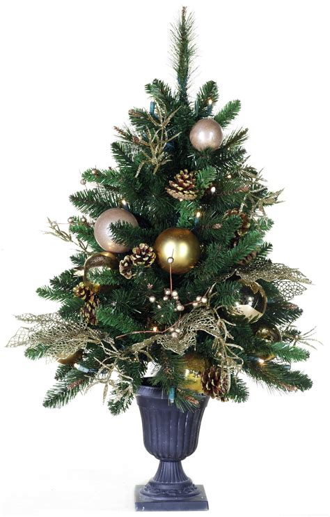 predecorated trees  royal gold battery operated table