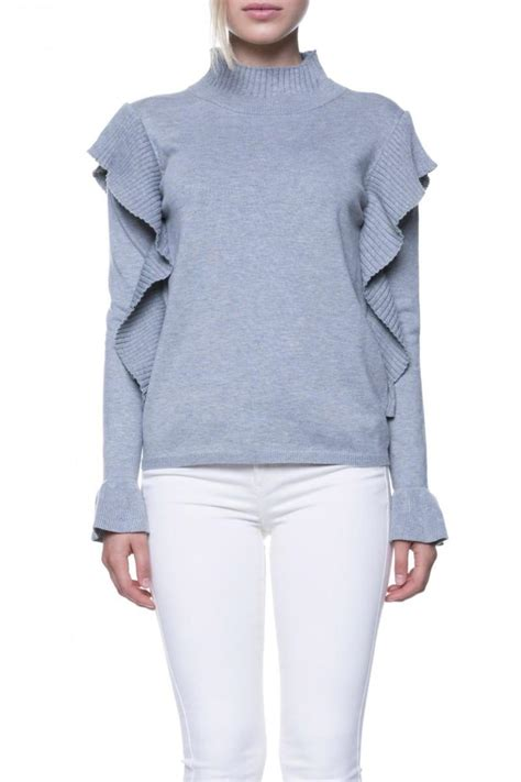 English Factory Grey Ruffle Sweater from Virginia by mod