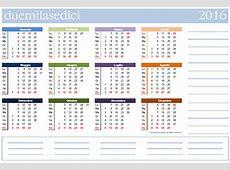 Calendario 2016 da stampare scarica gratis in PDF