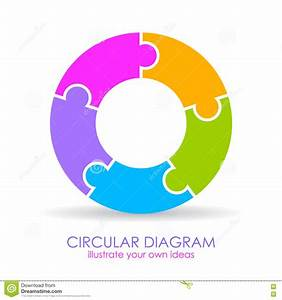 Five Puzzle Elements Circular Diagram Stock Vector