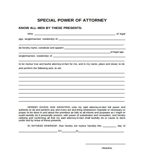 special power  attorney forms   sample
