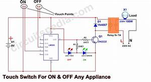 Touch On Off Switch Circuit For Appliance Using 555