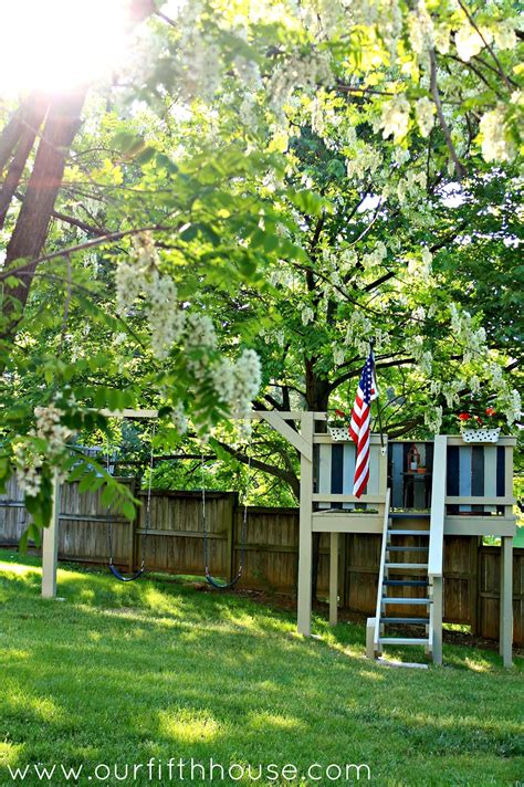 In Backyard by Diy Swing Set Playhouse Our Fifth House