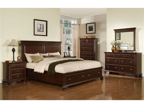 Elements International Bedroom Canton Cherry Storage Bed