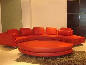 modern style sectional sofa curved tos lf 4522 red velour With red round sectional sofa