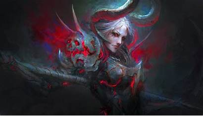 Demon Fantasy Horns Hair Woman Eyes Warrior