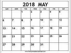 May 2018 Printable Calendar calendar for 2019
