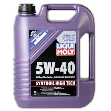 liqui moly 5w40 liqui moly synthoil high tech 5w 40 5l