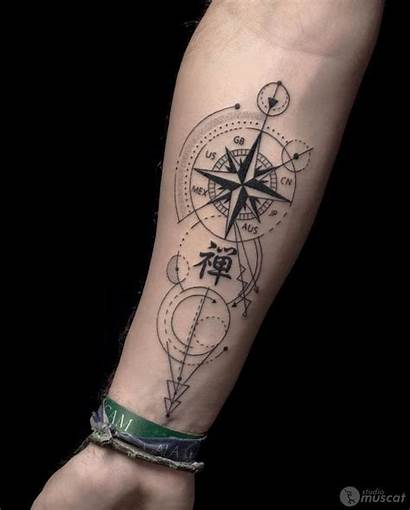 Tatouage Tattoo Boussole Homme Bras Dessin Petit
