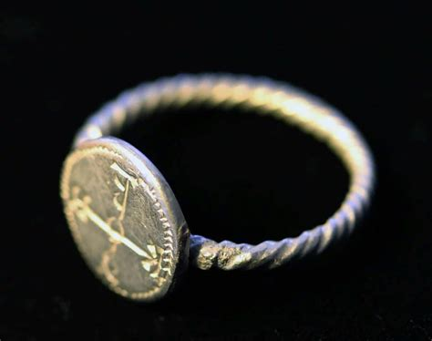byzantine silver seal ring  cruciform monogram senatus consulto ruby lane