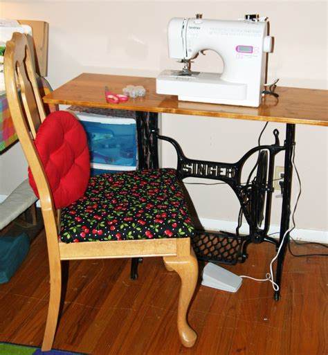 refurbished sewing table and chair for the new house