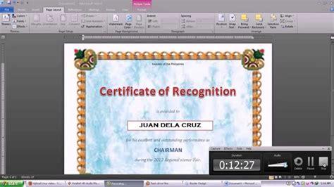 making certificate  microsoft word  youtube