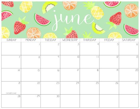 printable june  calendar cute date pages