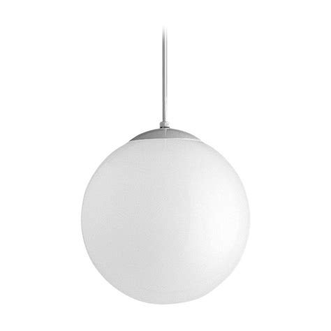 progress globe pendant light with white glass 12 inches